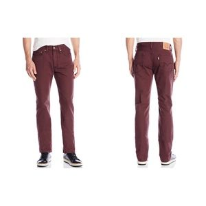 NEW Levi's 514 Mens Striaght Burgundy Pants 28X32